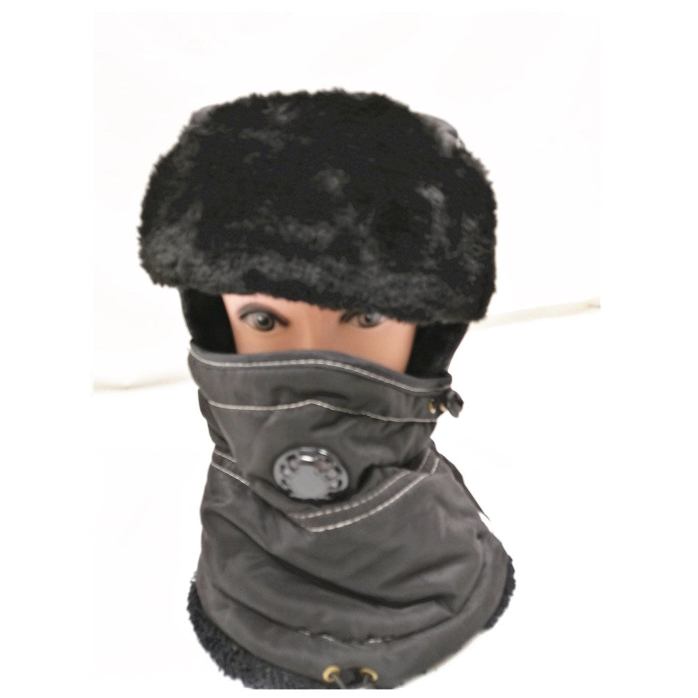 Unisex Winter Warm Thick Windproof hat with breathing valve black