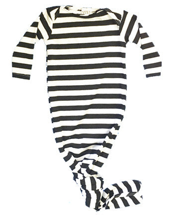 B&W Stripe Knotted Gown