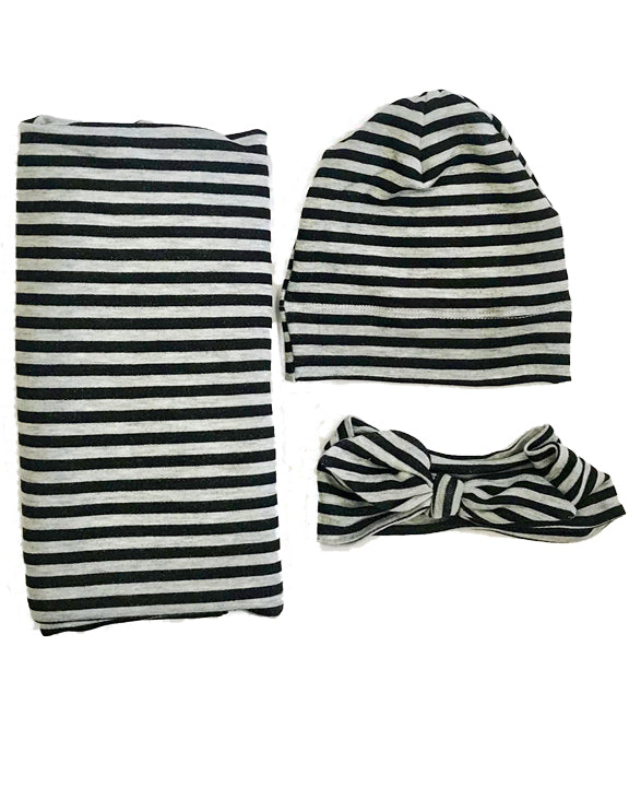 Black & Gray Stripe French Terry Oversized Blanket + Hat or Headband Set