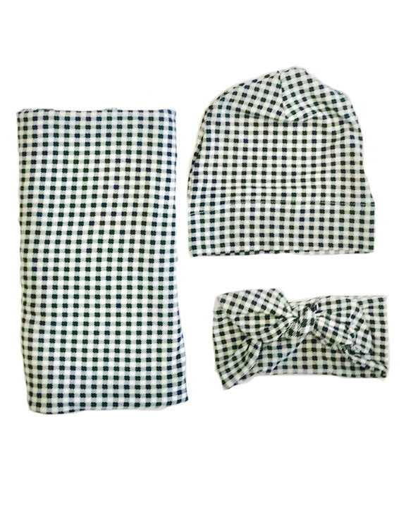 Black Check Gingham Oversized Blanket + Hat OR Headband Set