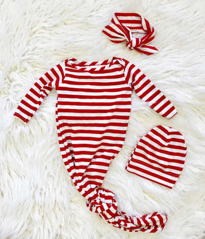 Red + White Stripe Knotted Gown