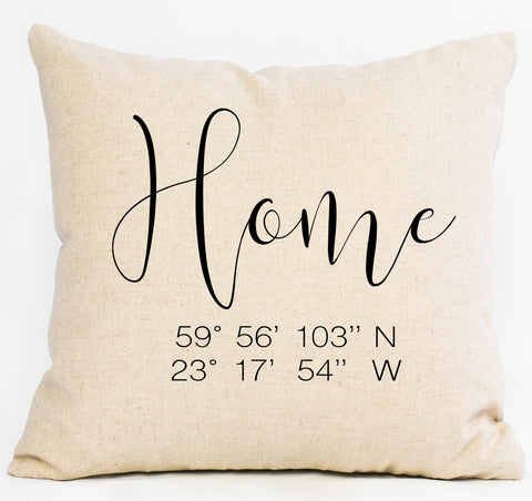 Script Home Latitude/Longitude Custom Pillow