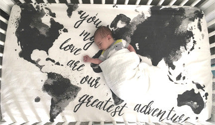 Modern Map Crib Sheet Or Swaddle Blanket