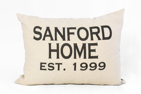 The Home Name Pillow | Custom Name + Year