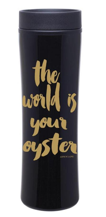 The World is Your Oyster Travel Mug -Black w/ Gold Imprint
