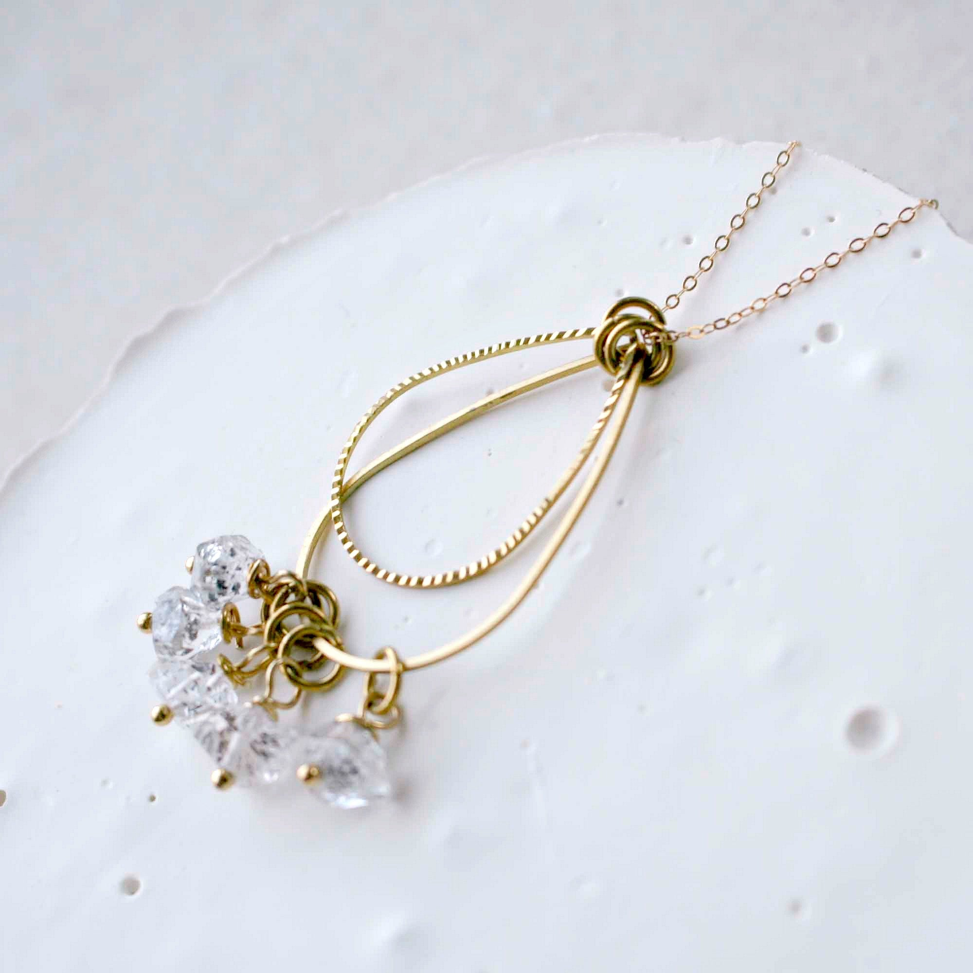 Herkimer Diamond Necklace, April Birthday, Gift for Women, Raw Quartz Necklace, Birthstone Gifts for Her, Crystal Necklace for Mom
