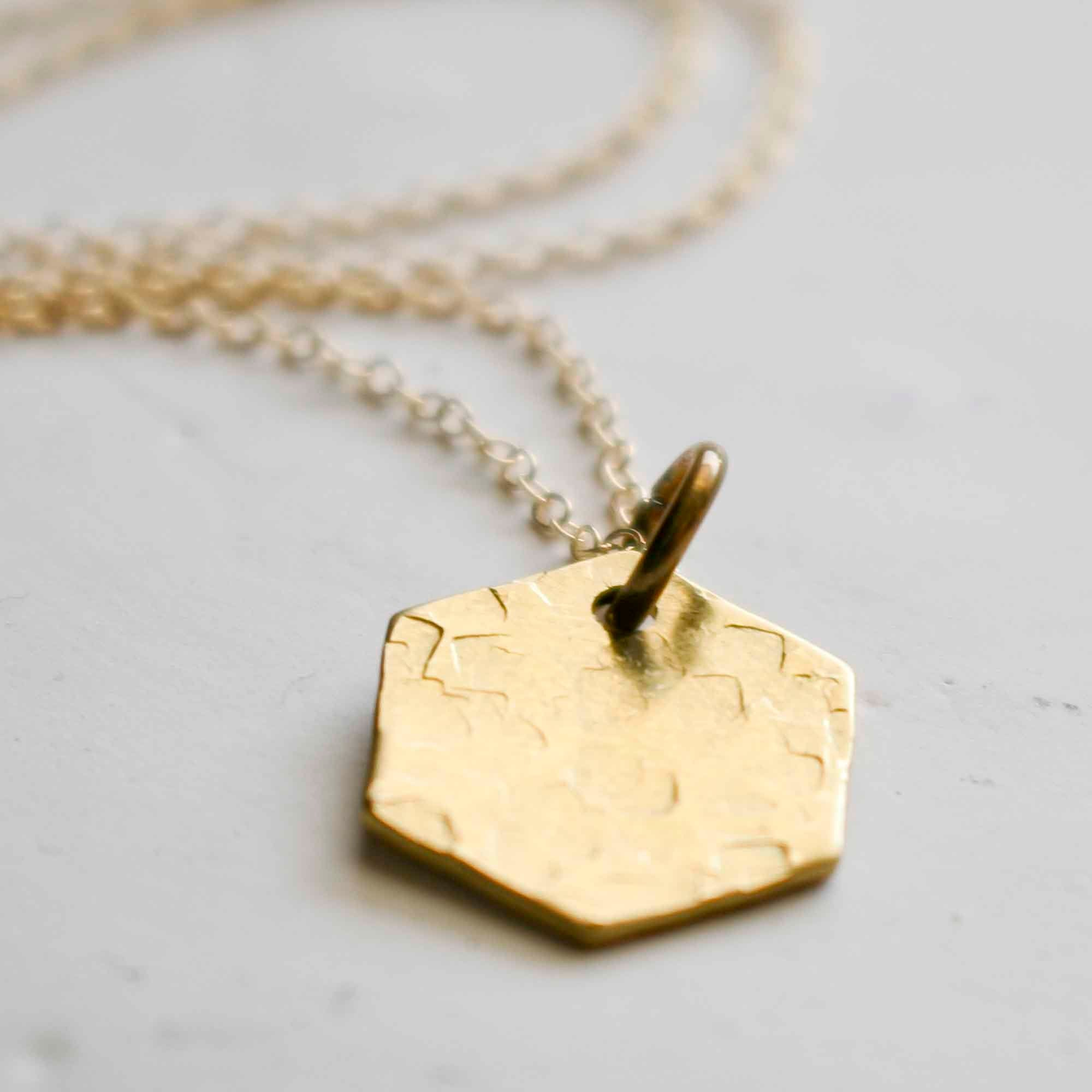 Hexagon Brass Charm, Geometry Jewelry, Shape Necklace, Six Sides, Medallion, Tag Necklace, Geometric Necklace, Disc Layering Necklace