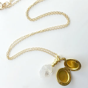 Herkimer Quartz Locket Necklace