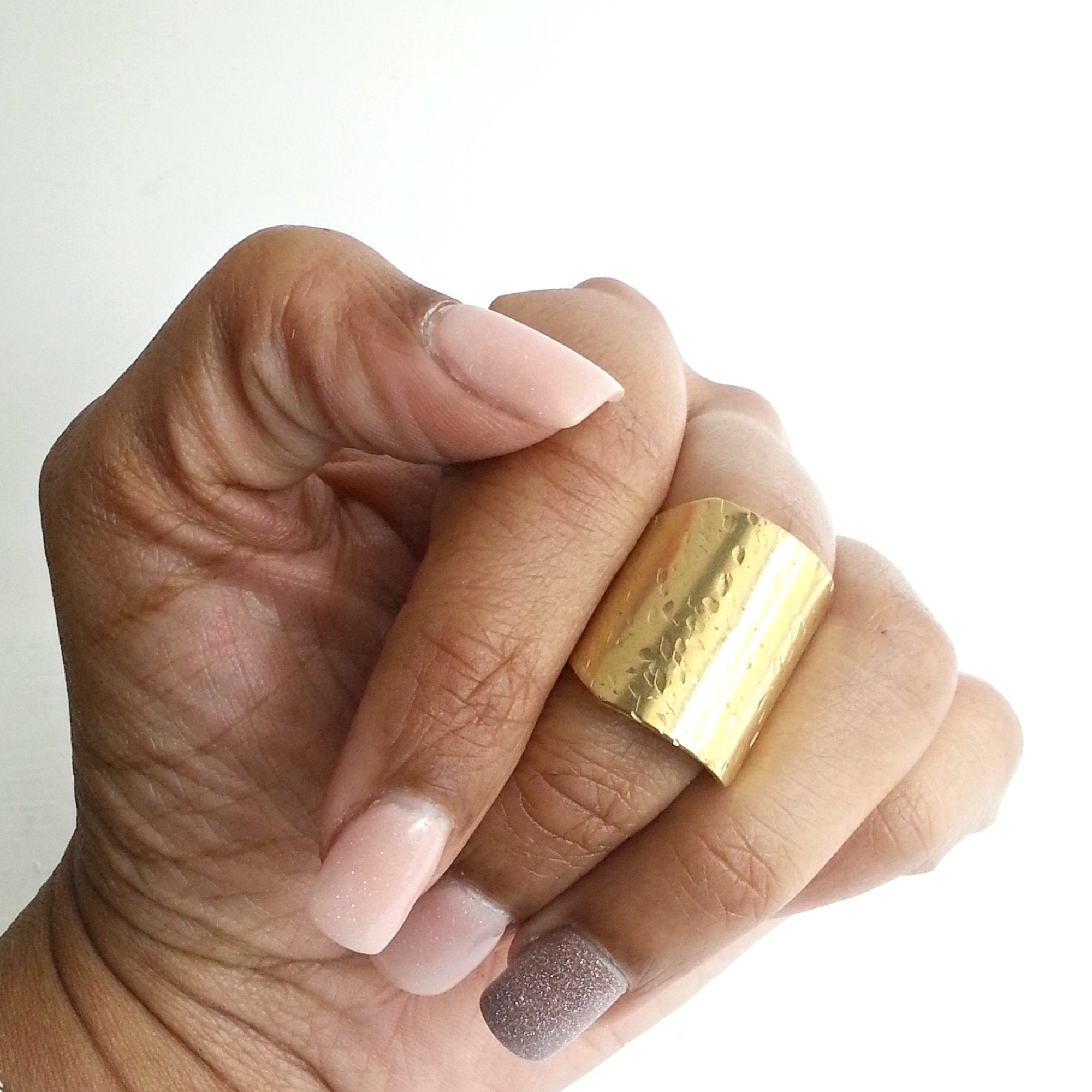 Modern Short Hammer Textured Brass Ring