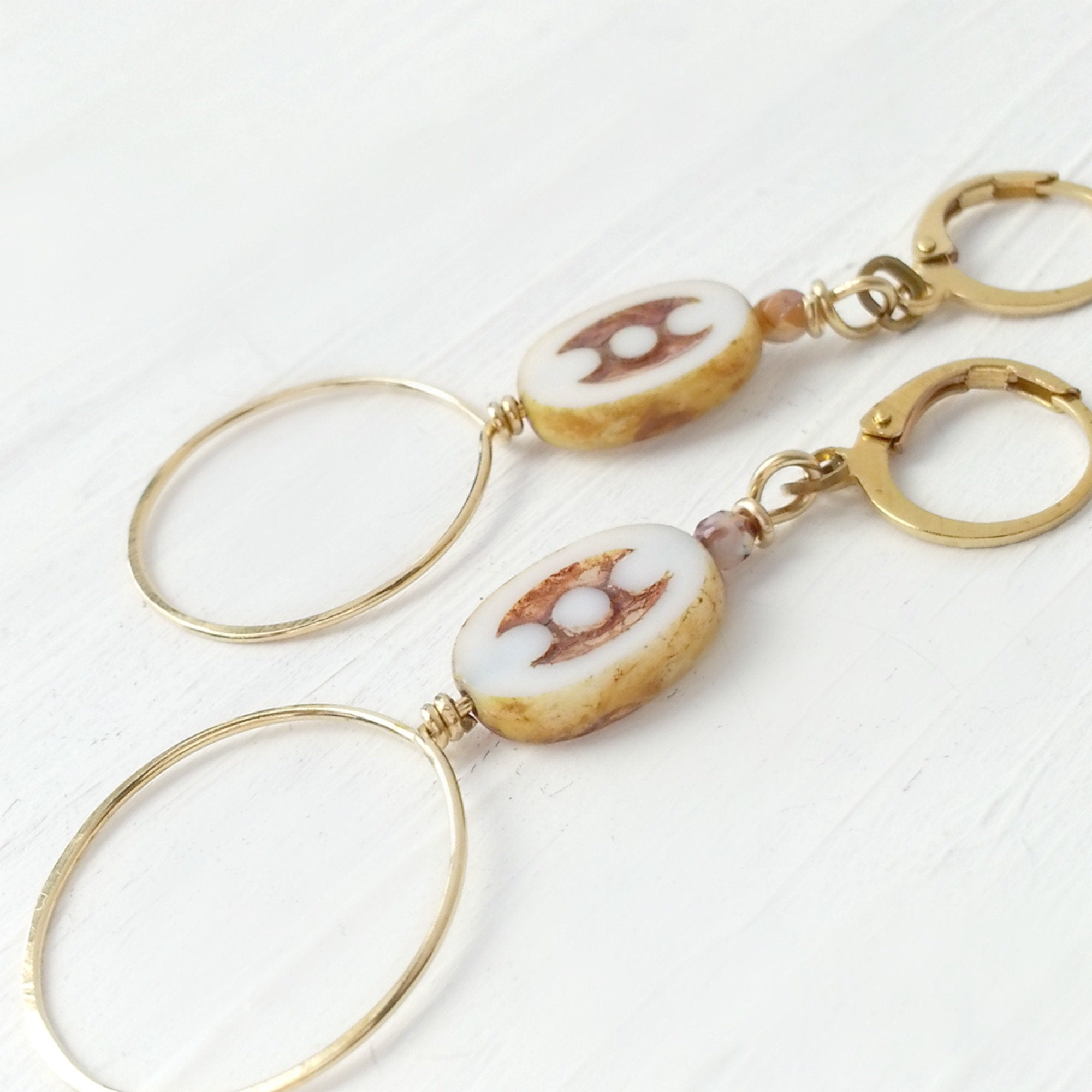 Round Yellow Brass Long Drop Earrings with Brown and Oval White Czech Glass Beads