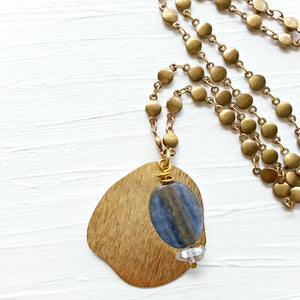Brass Kyanite Quartz Necklace