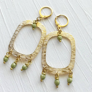 Yellow Brass Avocado Green Glass Bead Chandelier Style Dangle Drop Earrings