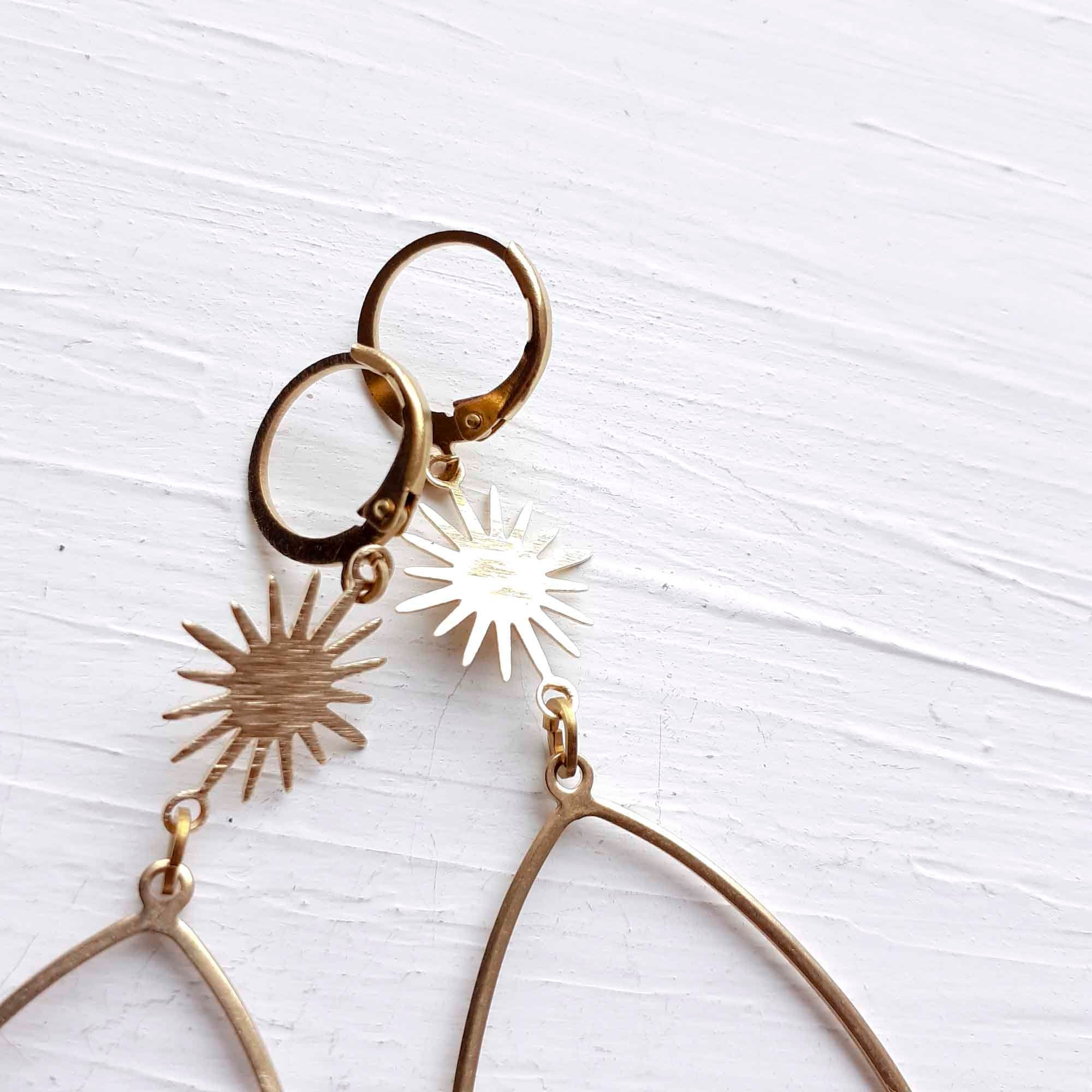 Extra Long Textured Yellow Brass Modern Sunshine Dangle and Teardrop Earrings