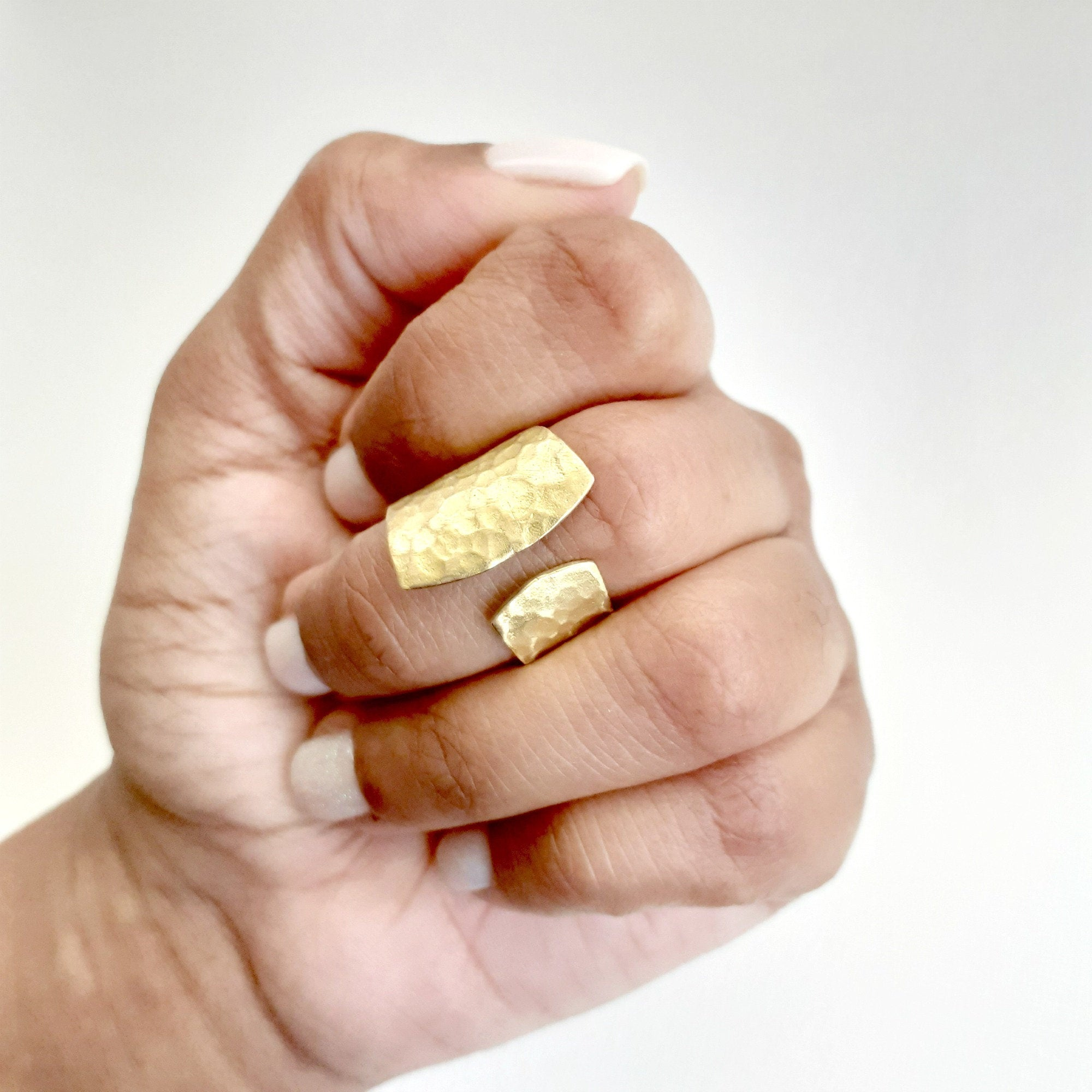 Short Brass Open Textured Ring