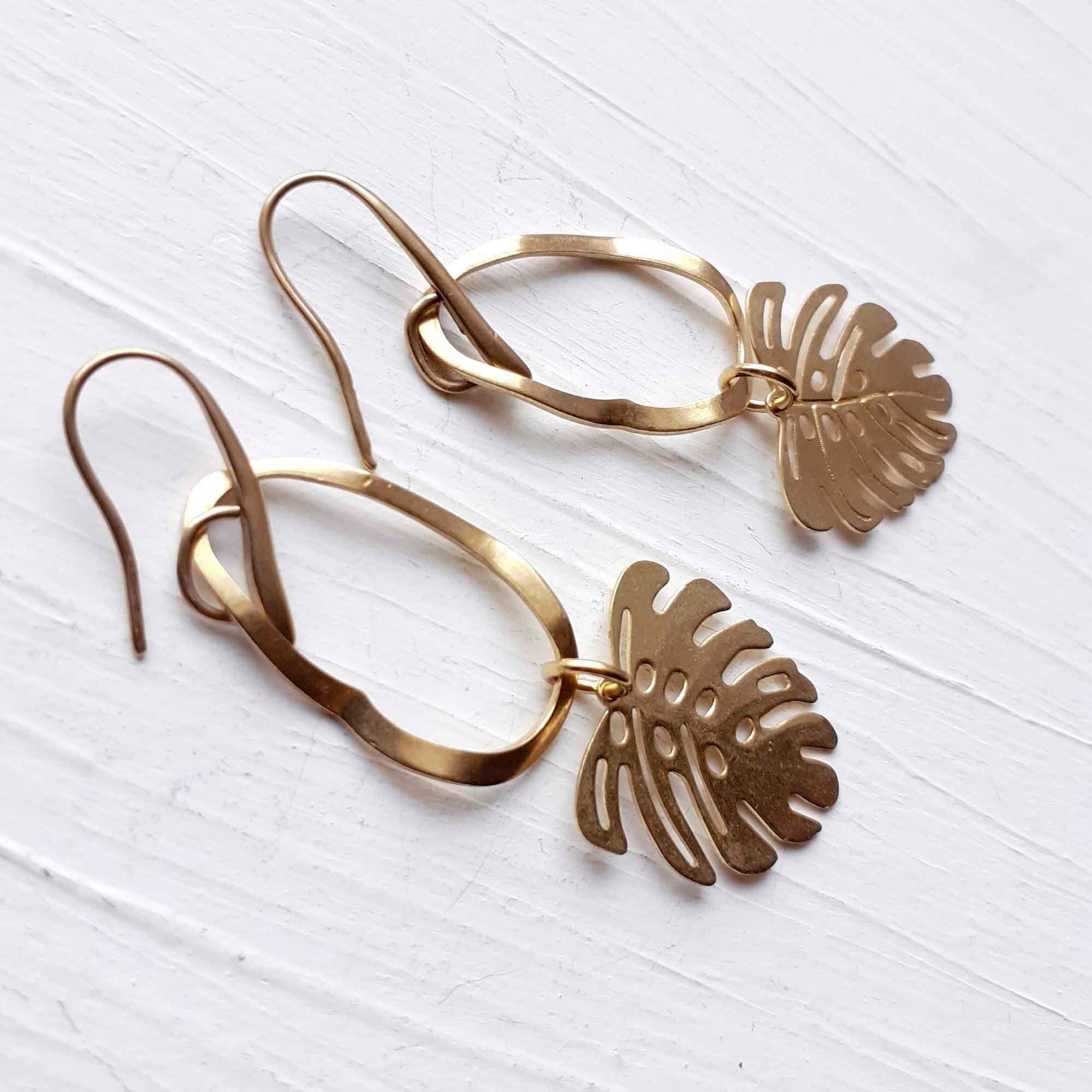Long Textured Yellow Brass Modern Monstera Leaf Dangle and Drop Earrings