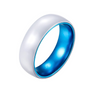 Blue Ceramic - White Ceramic Wedding Band with Blue Aluminum Sleeve