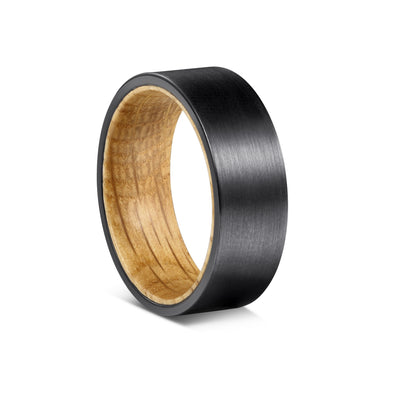 Black Barrel - Black Tungsten with Whiskey Barrel Inner Sleeve