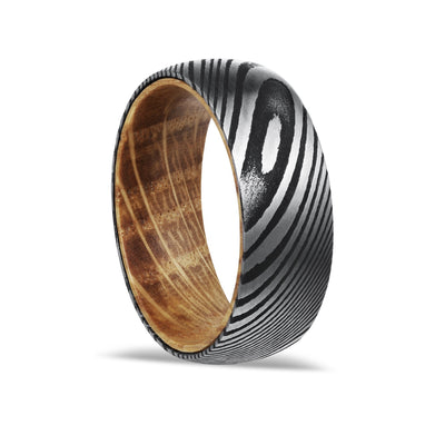 Whiskey Steel - Damascus Steel Whiskey Barrel Wedding Band