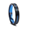 The Blue Line - Black and Blue Tungsten Ring
