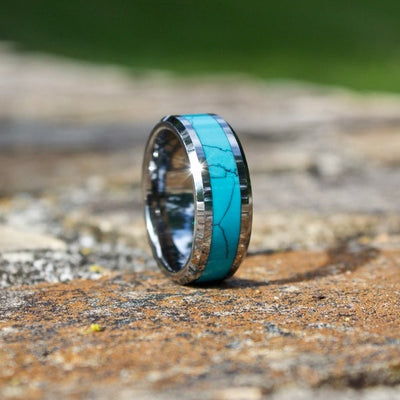 Tungsten Turquoise Wedding Band