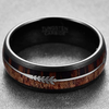 Arrow Wood - Black Tungsten with Koa Wood Inlay and Arrow Design
