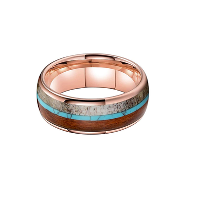 The Beast - Rose Gold Tungsten with Wood, Turquoise, and Deer Antler Inlay
