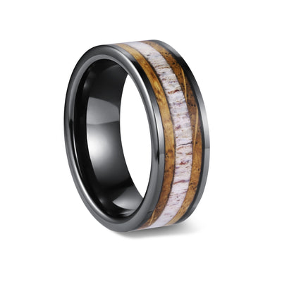 Trophy Hunter - Black Ceramic Wedding Band with Deer Antler and Whiskey Barrel Inlay