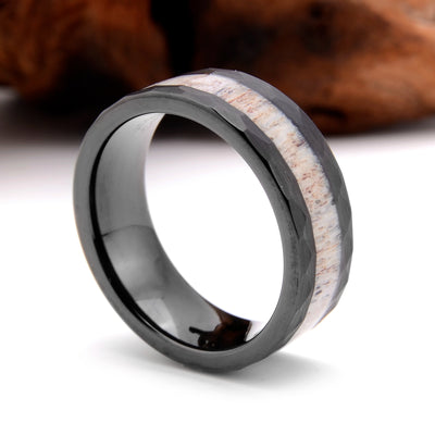 Rugged Hunter - Hammered Tungsten with Deer Antler Inlay