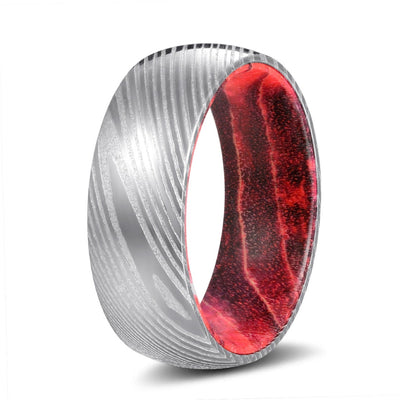 Red Lava - Damascus Steel with Black and Red Box Elder Wood Ring