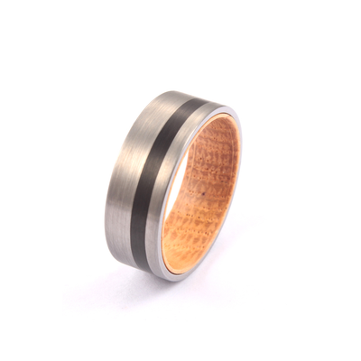 Smooth Bourbon - Silver and Black Tungsten Oak Whiskey Wedding Band