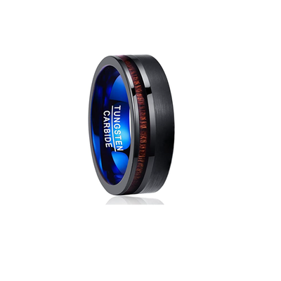 Night Line - Black and Blue Tungsten Wedding Band with Koa Wood Inlay
