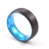 Blue Sleeve - Black Tungsten Wedding Band with Blue Aluminum Sleeve