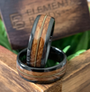 Black Chord - Black Ceramic Guitar String Wedding Band with Whiskey Barrel Inlay