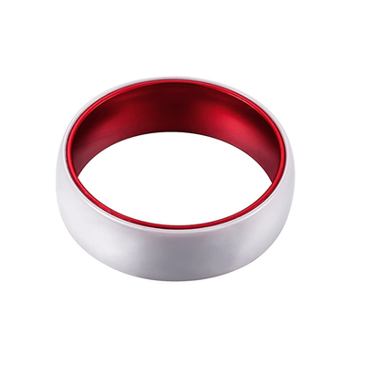 Red Ceramic - White Ceramic Wedding Band with Red Aluminum Sleeve