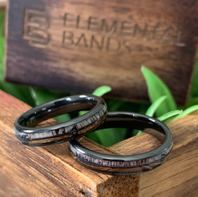 Thin Outdoors - Deer Antler Whiskey Barrel Ceramic Wedding Band