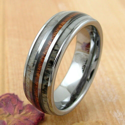 Deer in the Woods - Koa Wood and Deer Antler Wedding Band