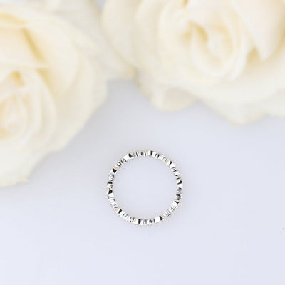 Moissanite eternity wedding band