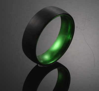 Green Sleeve - Black Tungsten Wedding Band with Green Aluminum Sleeve