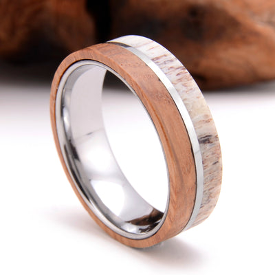 Nature Made - Deer Antler and Whiskey Barrel Tungsten Ring
