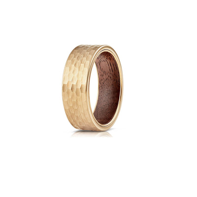 Hammered Wood - Hammered Tungsten Wenge Wood Wedding Band