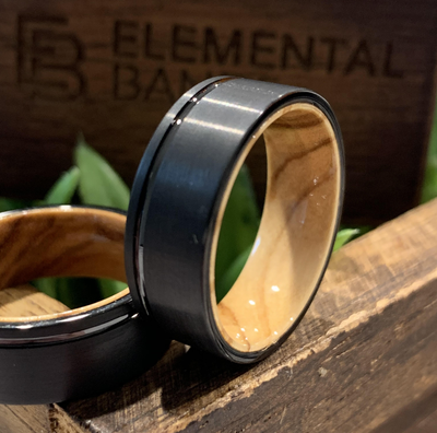 Olive Groove - Black Tungsten Wedding Band with Olive Wood Inner Sleeve