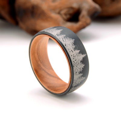 Black Olive - Black Tungsten Forest Wedding Band with Olive Wood Sleeve