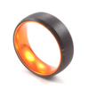 Orange Sleeve - Black Tungsten Wedding Band with Orange Aluminum Sleeve