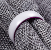 Purple Ceramic - White Ceramic Wedding Band with Purple Aluminum Sleeve