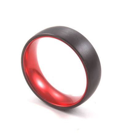 Red Sleeve - Black Tungsten Wedding Band with Red Aluminum Sleeve