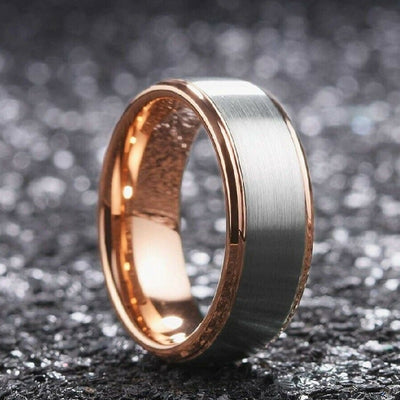 tungsten rose gold wedding band