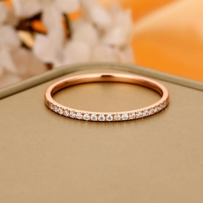 Wedding Band with Moissanite Stones