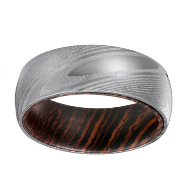 Damascus Wenge - Damascus Steel Wenge Wood Ring