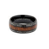 The Designer - Black Tungsten Wedding Band with Koa Wood Inlay