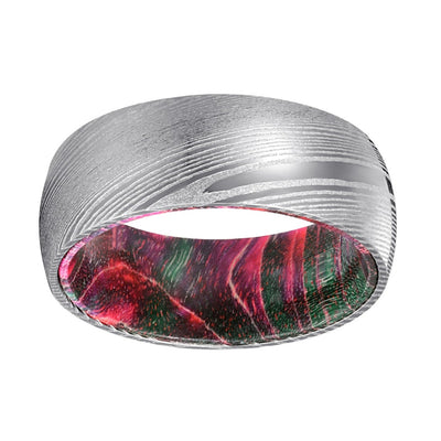 Xmas Steel - Damascus Steel with Green and Red Elder Wood Ring